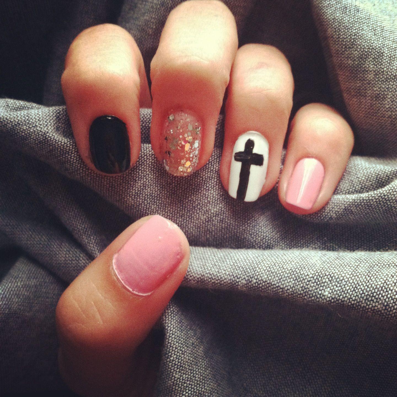 Pink Black Cross Nail Design Nails Pinterest Cross Nail