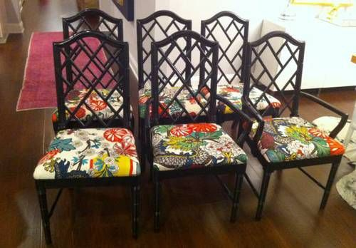 High Quality Faux Bamboo Chinese Chippendale Chairs $800   These Are Gorgeous And Are  Covered In Schumacher Designer Chinoiserie Fabric (Chiang Mai Dragon Alabau2026