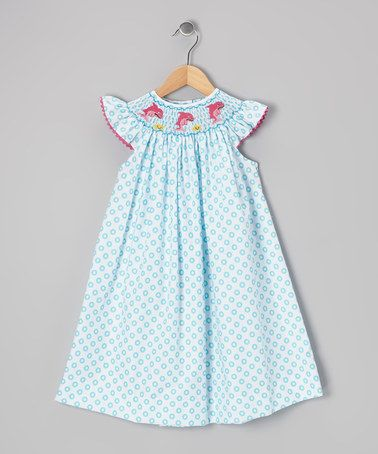 Take a look at this Blue Dolphin Smocked Angel-Sleeve Dress - Infant, Toddler & Girls on zulily today!