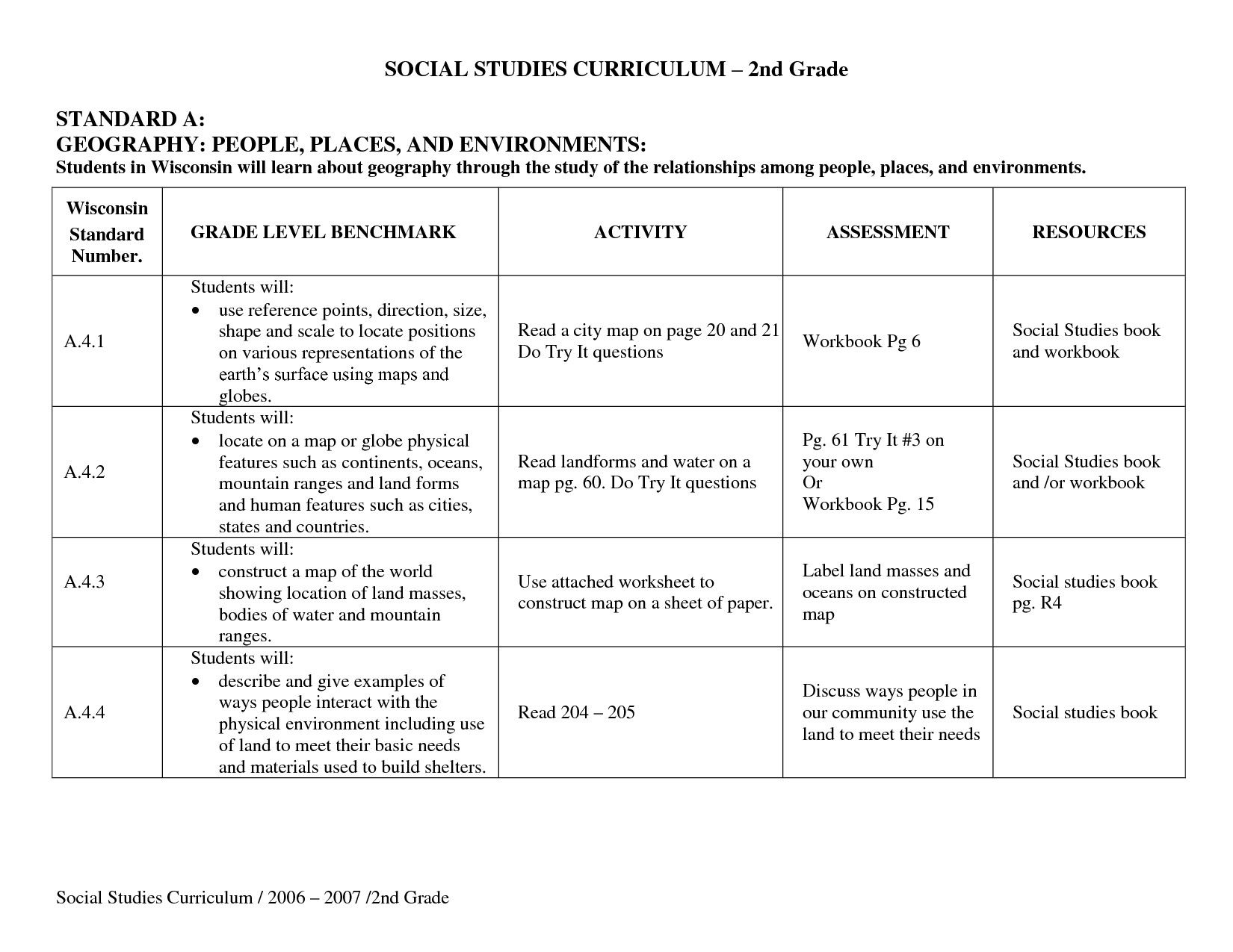 General 3rd Grade Social Stu S Worksheets