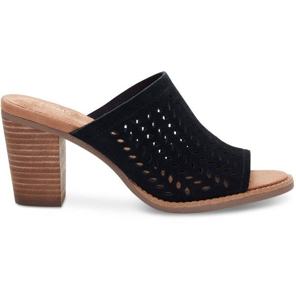 6e776643c5d TOMS Black Suede Perforated Leaf Women s Majorca Mule Sandals ( 109) ❤  liked on Polyvore
