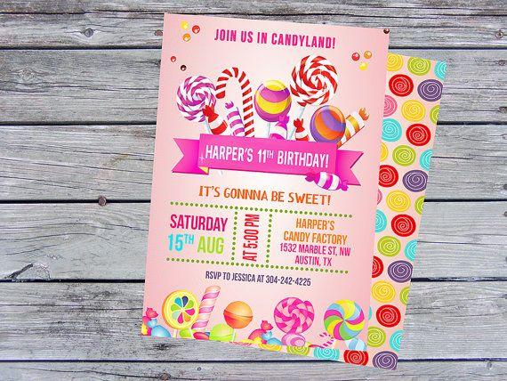Candyland Invitation Sweet Shop Invitation  Candy