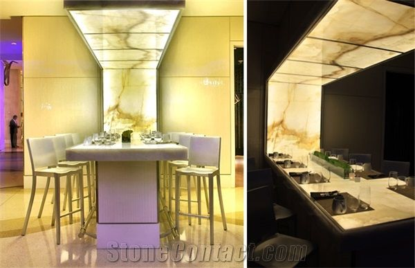 Backlit Onyx Feature Dining Table Yellow Onyx Tables House
