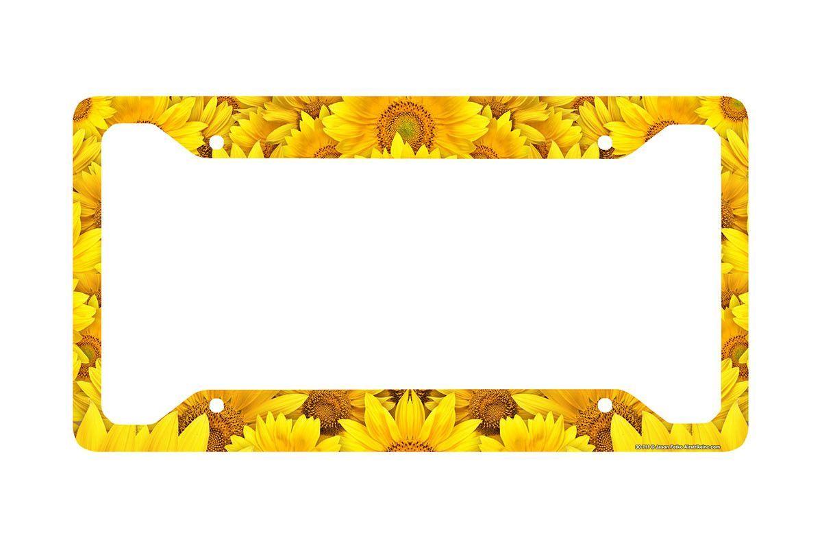Sunflower License Plate Frame Sunflower Car Tag Frame