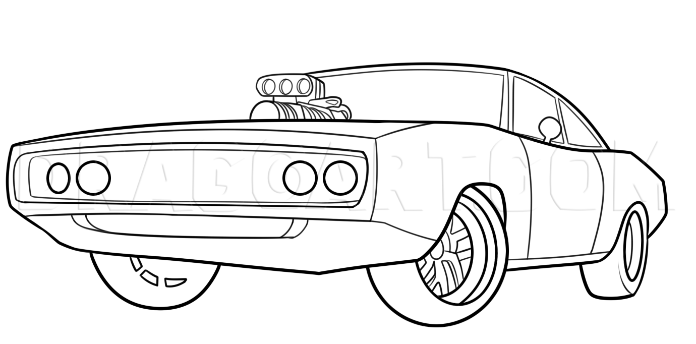 How To Draw The Fast And Furious 1970 Dodge Charger Step By Step Drawing Guide By Dawn Dragoart In 2020 Cars Coloring Pages Race Car Coloring Pages Dodge Charger