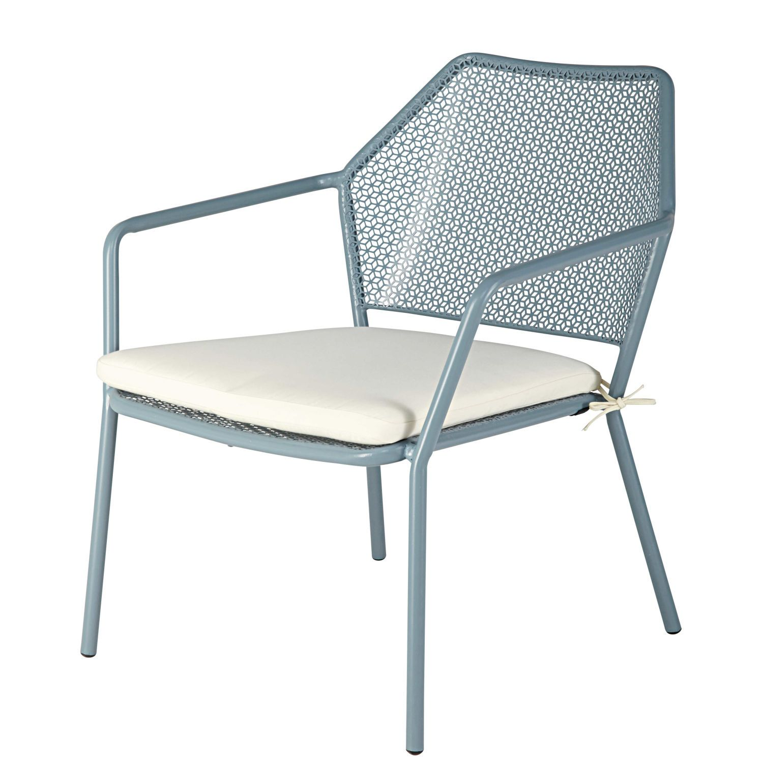 Stackable Garden Armchair In Blue Metal With White Cushion Maldives On Maisons Du Monde Take Your Pick From Our Furnitu White Cushions Outdoor Chairs Cushions