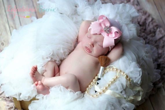 Photo of READY TO SHIP Baby Girl Headband Alternative – baby girl newborn hat with bow instead of baby girl headband, newborn girl headband option