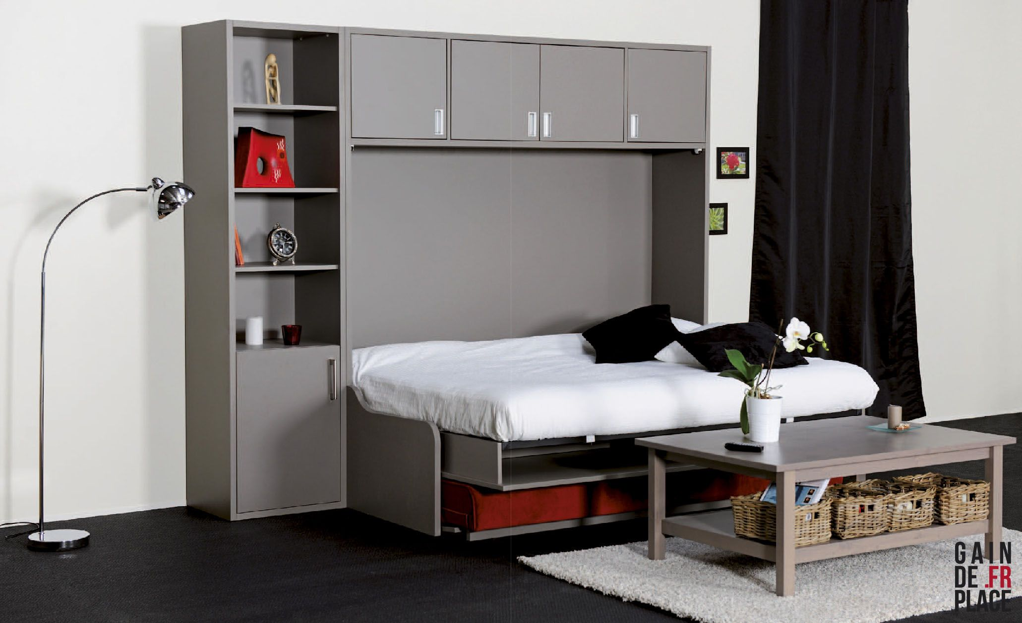 lit escamotable avec canap le must du gain de place l 39 optimisation de vos espaces est. Black Bedroom Furniture Sets. Home Design Ideas