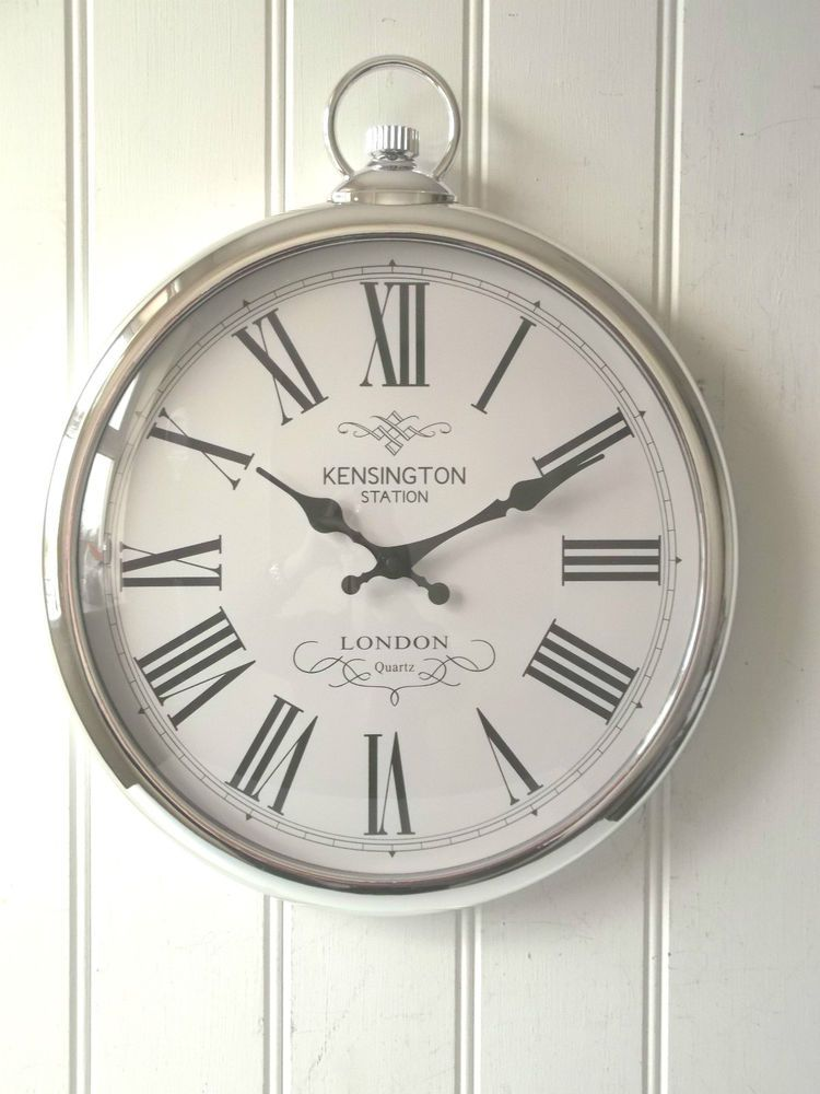 LARGE SILVER ROUND POCKET WATCH WALL CLOCK Kensington Station 40cm NEW U0026  BOXED