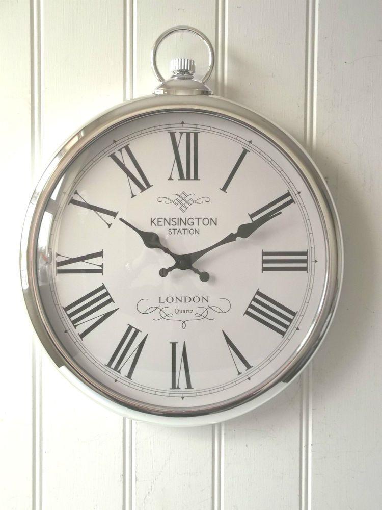 LARGE SILVER ROUND POCKET WATCH WALL CLOCK Kensington Station 40cm NEW U0026  BOXED