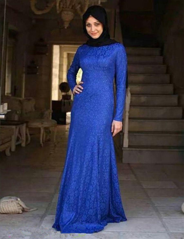 e55c3c39791 Royal Blue Lace Long Sleeve Fishtail Maxi Dress - Gomes Weine AG