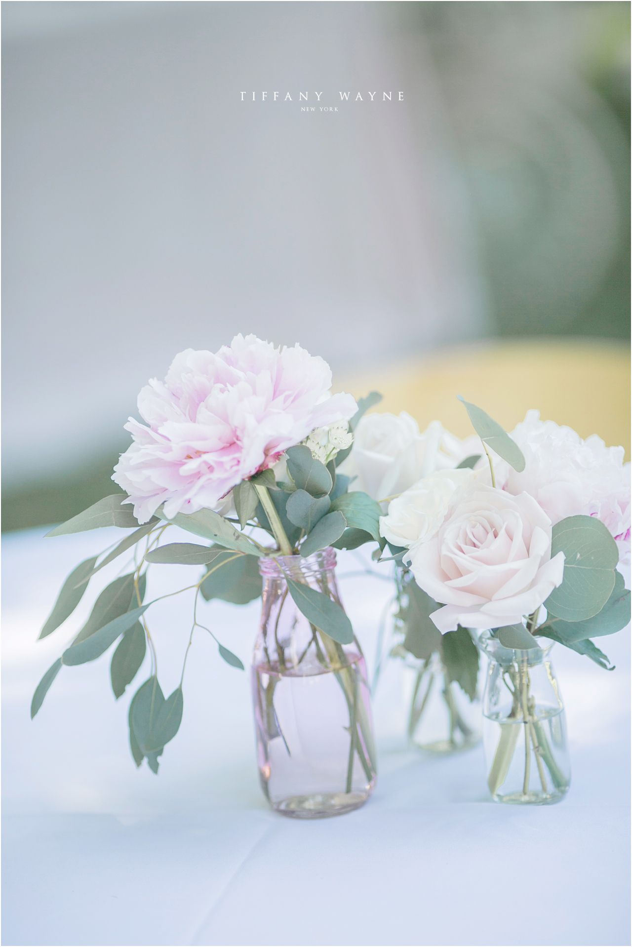 Light Pink Wedding Flowers Light Pink Flowers With Eucalyptus Leaves Flowers With Eu Wedding Flower Decorations Peonies Wedding Table Wedding Table Flowers