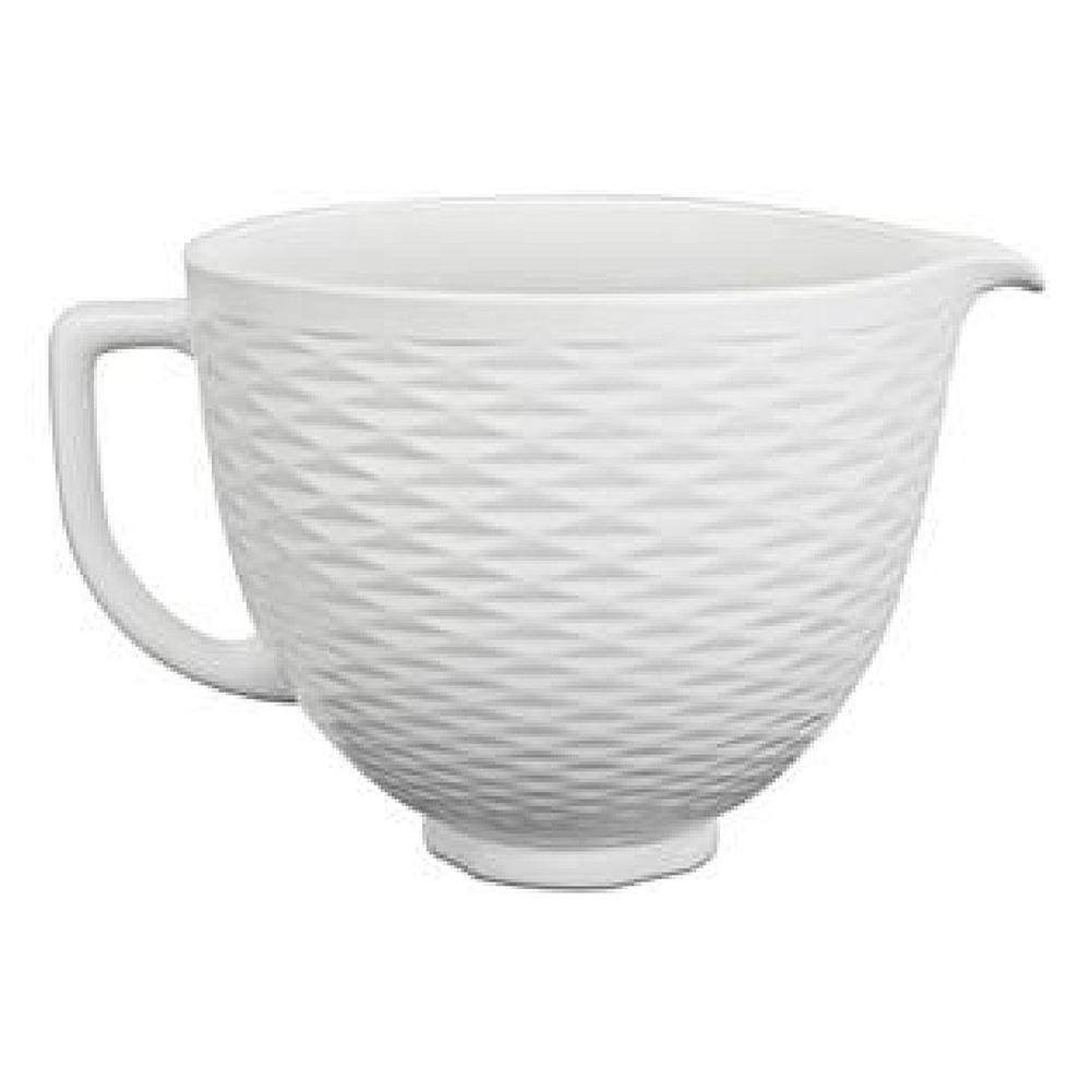 Kitchenaid ceramic bowl 5qt blck matte white texture