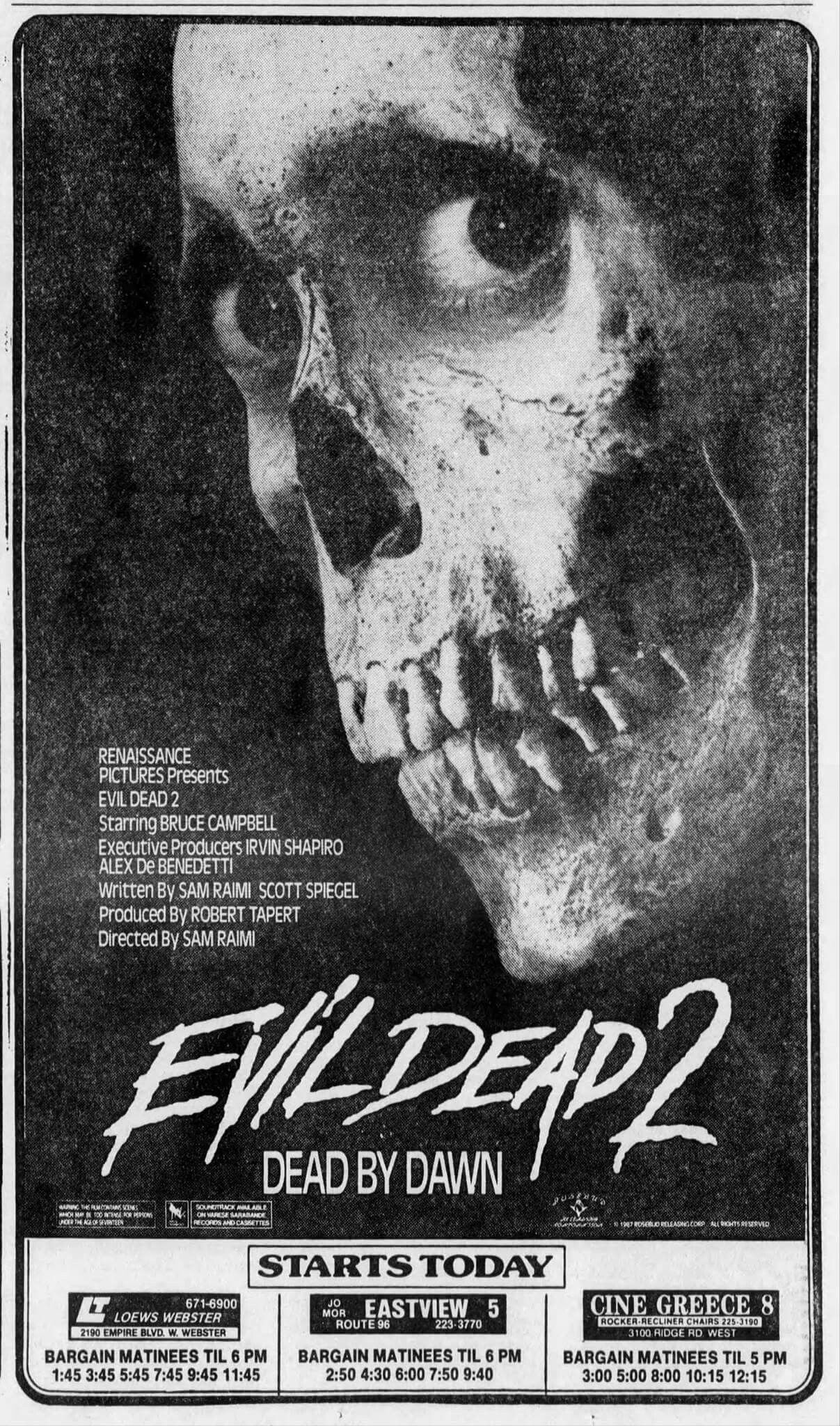 Evil Dead Ii Dead By Dawn Newspaper Ad Movie Prints Horror Fans Movie Covers