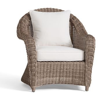 Torrey All Weather Wicker Roll Arm Occasional Chair   Natural #potterybarn