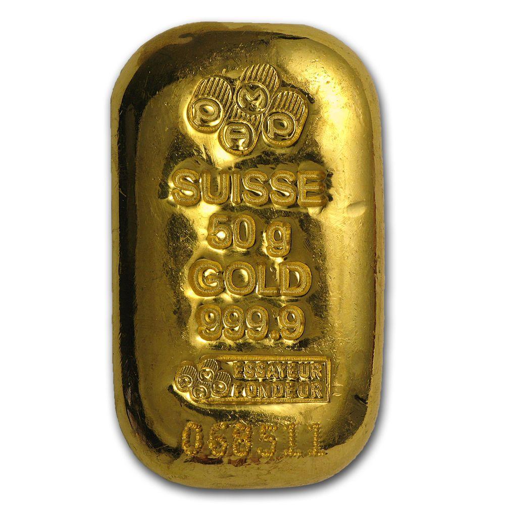 50 Gram Gold Bar Pamp Suisse Cast W Assay Sku 75518 Gold Bars For Sale Gold Bar Gold Value