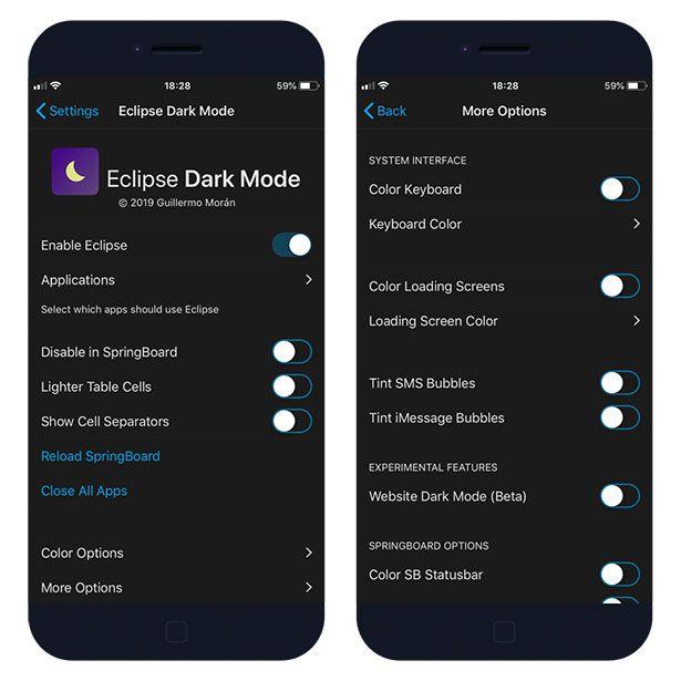 Eclipse 12 Dark Mode jailbreak theme for iOS Settings