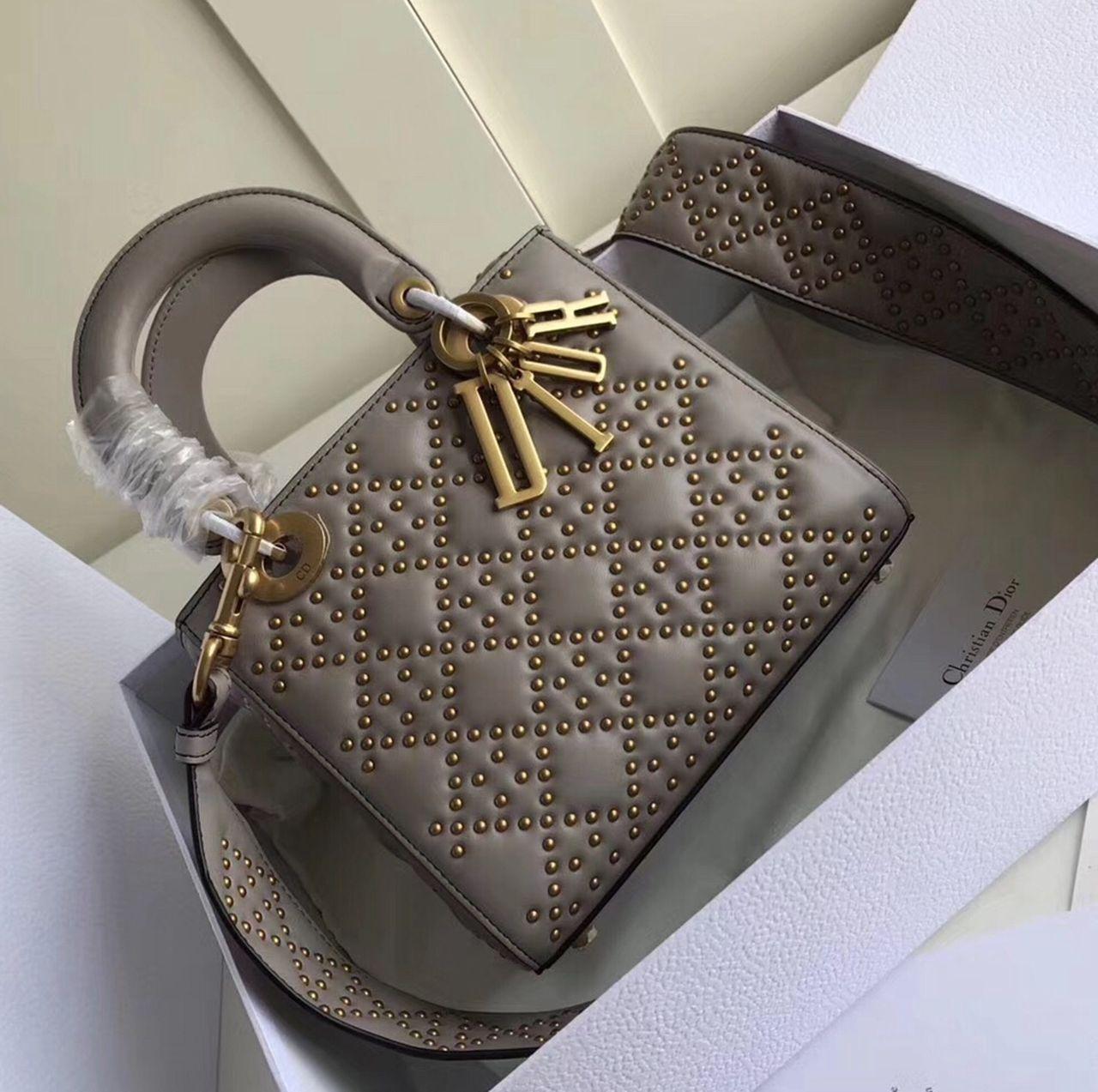 5717772f1 Dior Supple Lady Dior Medium Bag in Studded Lambskin Grey 2017 ...
