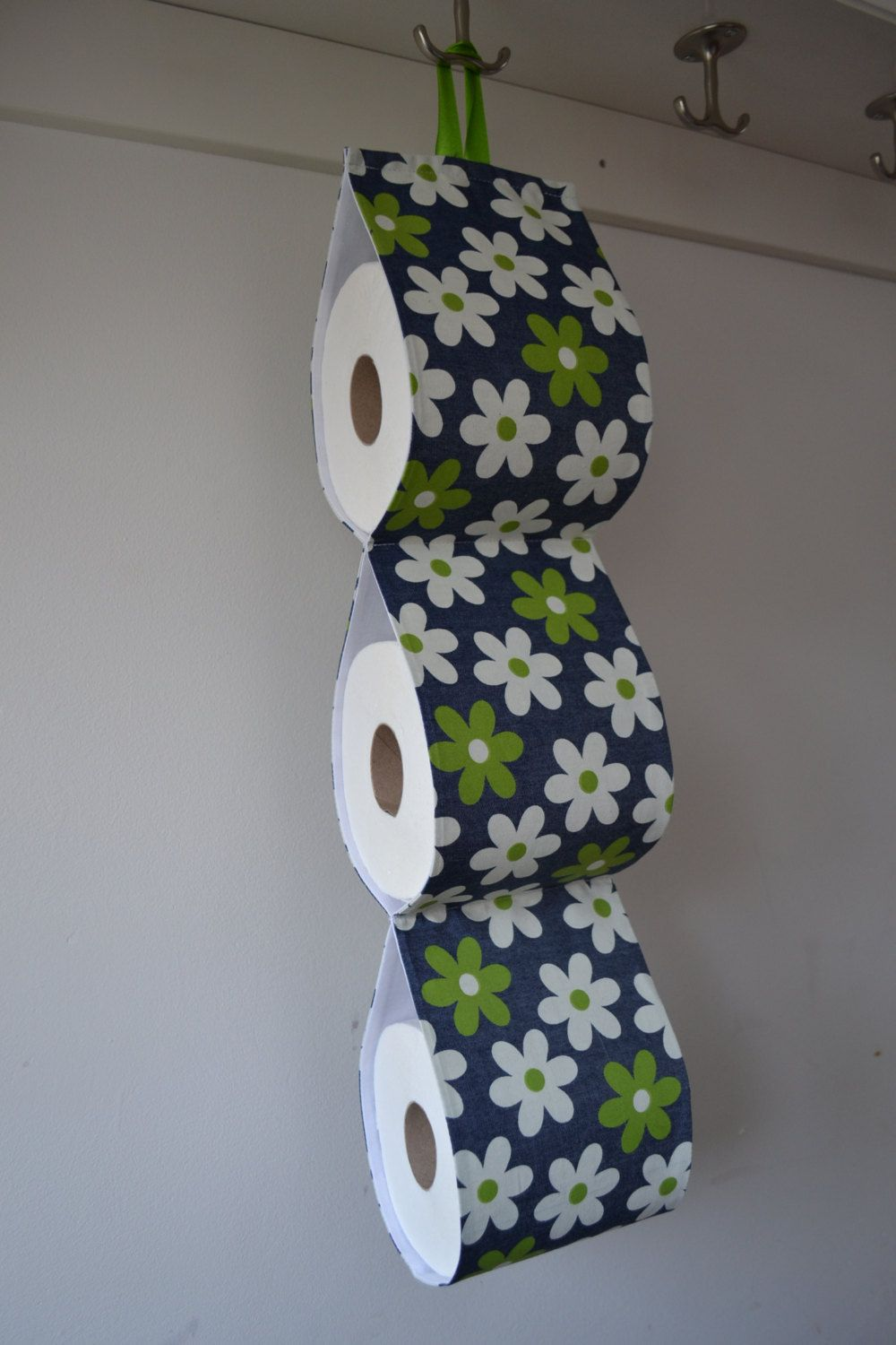 Fabric Decorative Toilet Paper Holder Storage At The Wall 3 Rolls 100 Cotton Look Like Denim Print With White And Green Flowers Toilet Paper Holder Toilet Paper Toilet