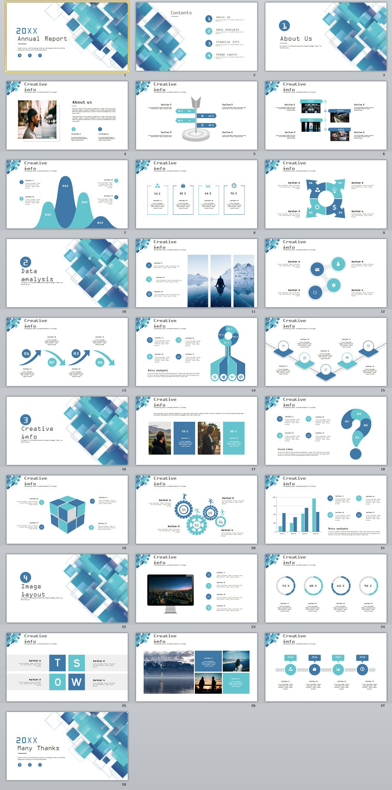 28 blue swot report charts powerpoint template on behance