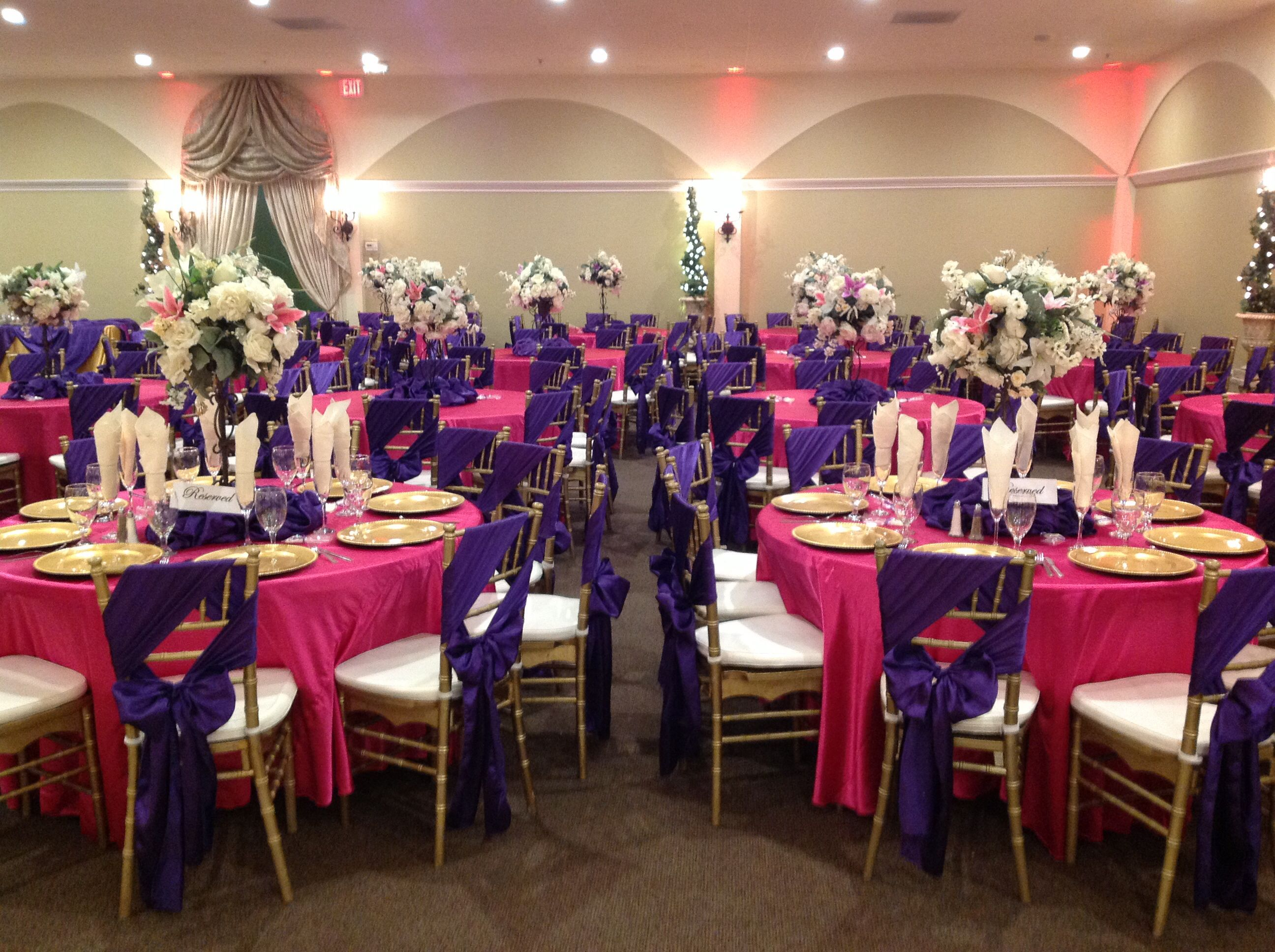 Purple And Hot Pink Quince Decor At Villa Tuscana Reception Hall