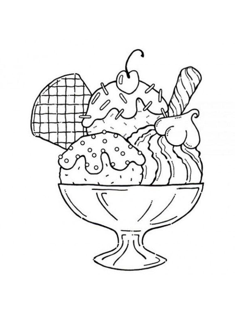 Easy Ice Cream Coloring Page Buku Mewarnai Halaman Mewarnai Buku Gambar