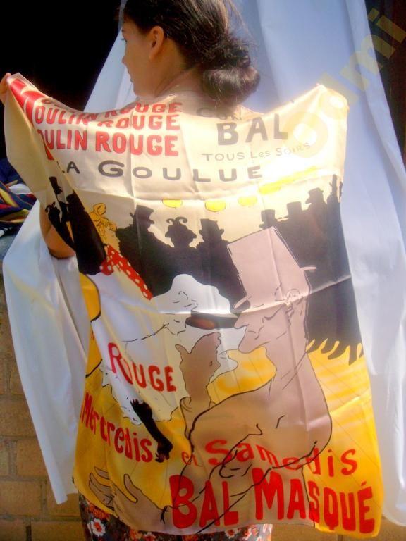 Silk scarf France Moulin Rouge by Toulouse Lautrec Vintage
