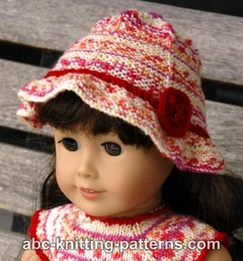 Free knitting pattern - American Girl Doll Carolina Summer Hat #dollhats