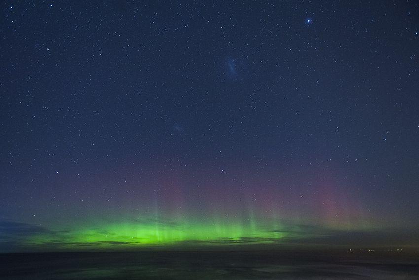 aurora austral. nueva zelanda.
