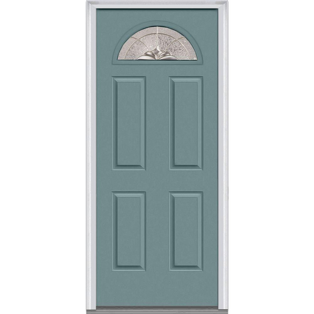 Mmi Door 36 In X 80 In Heirlooms Left Hand Inswing 1 4 Lite Decorative 4 Panel Painted Fiberglass Smooth Prehung Front Door Z002782l Prehung Interior Doors Traditional Front Doors Front Door Colors