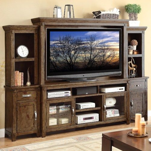 Legends Furniture Restoration Large Rustic Casual Wall Unit With Two Piers Mit Bildern Entertainment Center Furniture Home Decor