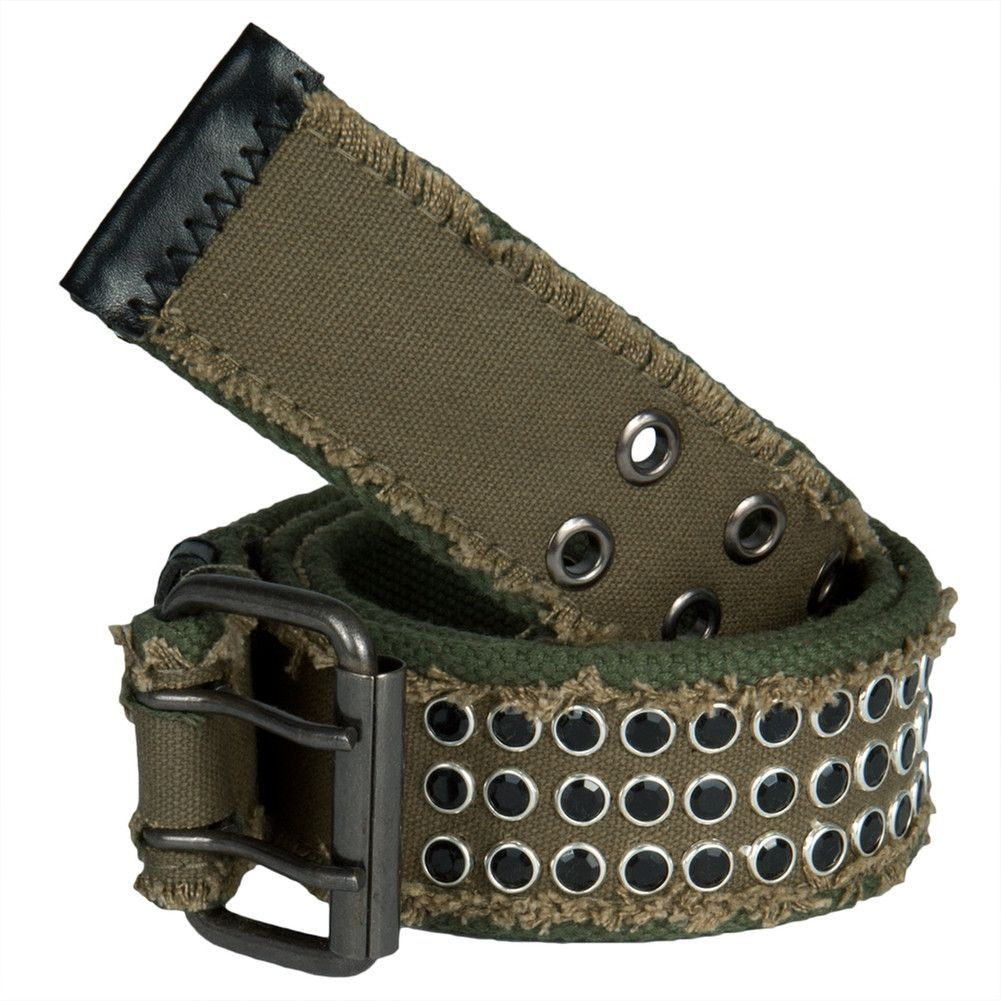 Frayed Jewel Studded Olive Web Double Grommet Belt