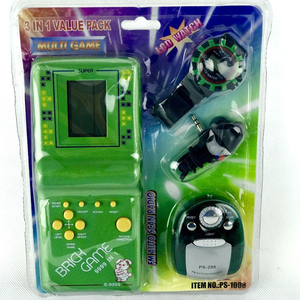 Electronic lcd brick game e9999 with lcd watch headphones