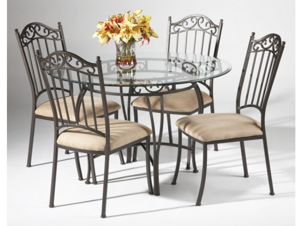 Black wrought iron table and chair sets 48 round for Wrought iron furniture
