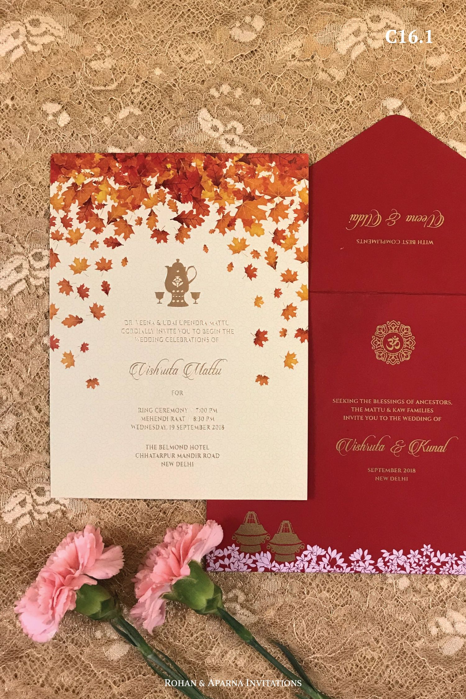Kashmiri Wedding Invitation With Beautiful Falling Chinar Leaves For More Design Ideas Vis Indian Wedding Invitation Cards Indian Wedding Cards Wedding Cards