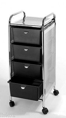 Pibbs D27 4 Drawer Storage Cart Wheels Stainless Steel Top Sides Pedicure Station Pedicure Salon Hair Salon Equipment Stainless steel cart with drawer