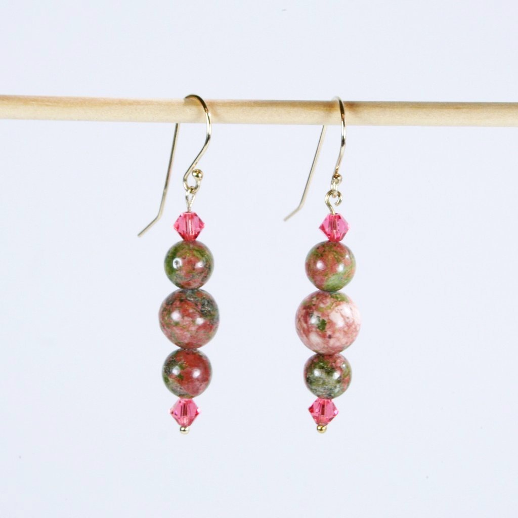 9a2def67028b Unikite Reunion- Beaded Gemstone Earrings in Beautiful Sage Green   Peach  Shades with Swarovski Faceted