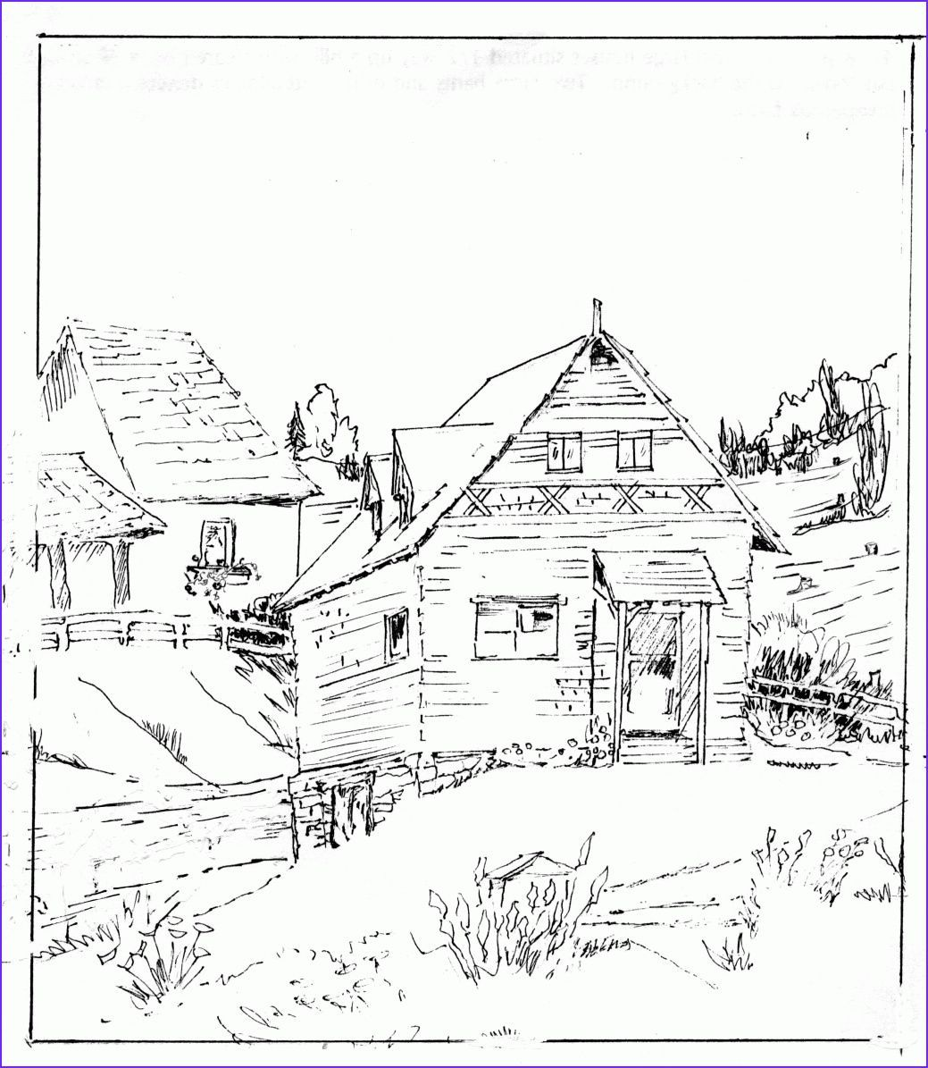 How To Draw A Log Cabin House By Dawn House Sketch Simple House