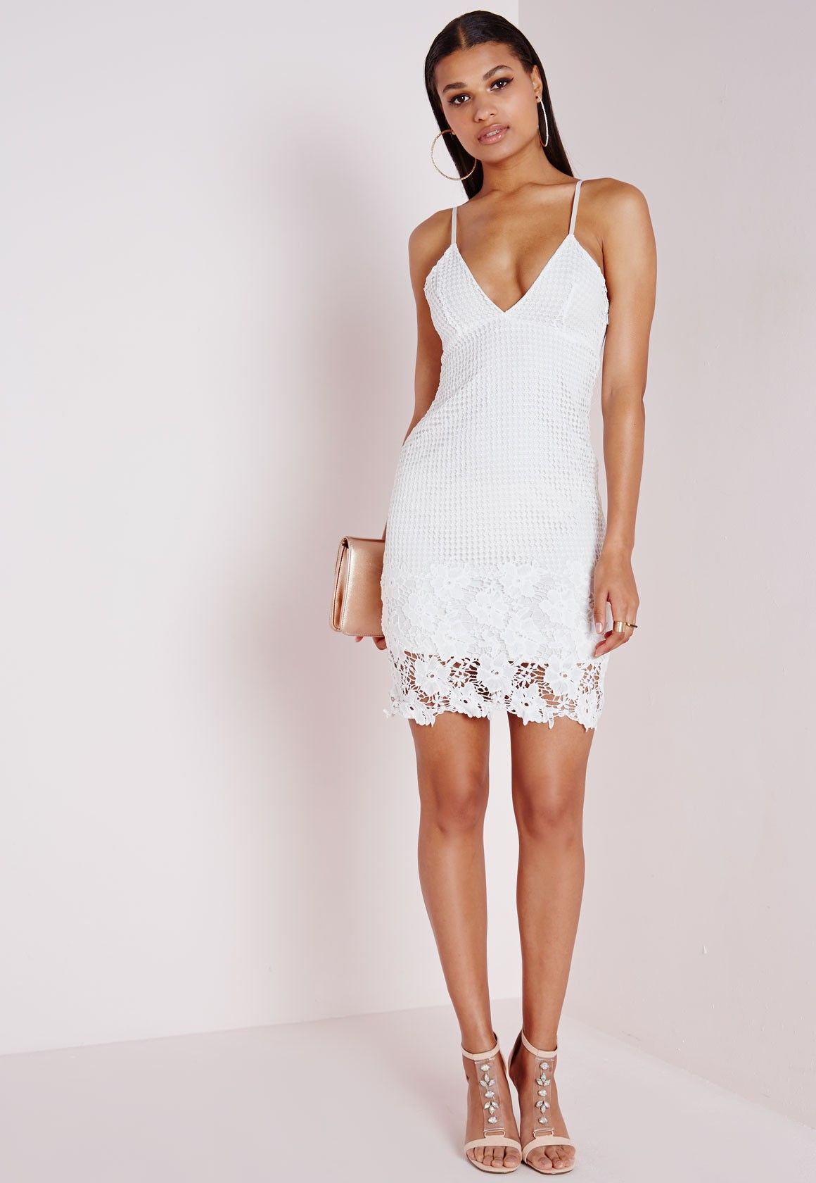 c3eef53df76 Missguided - Lace Plunge Bodycon Dress White
