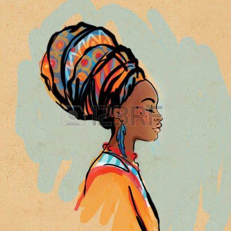 Femme africaine portrait de la belle femme africaine avec boucle d 39 oreille vue de profil - Profil dessin ...