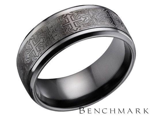 Benchmark Mens 9mm Cross Design Black Titanium Wedding Band