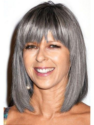 16 Straight Shoulder Length Lace Front Grey Wigs For Lady