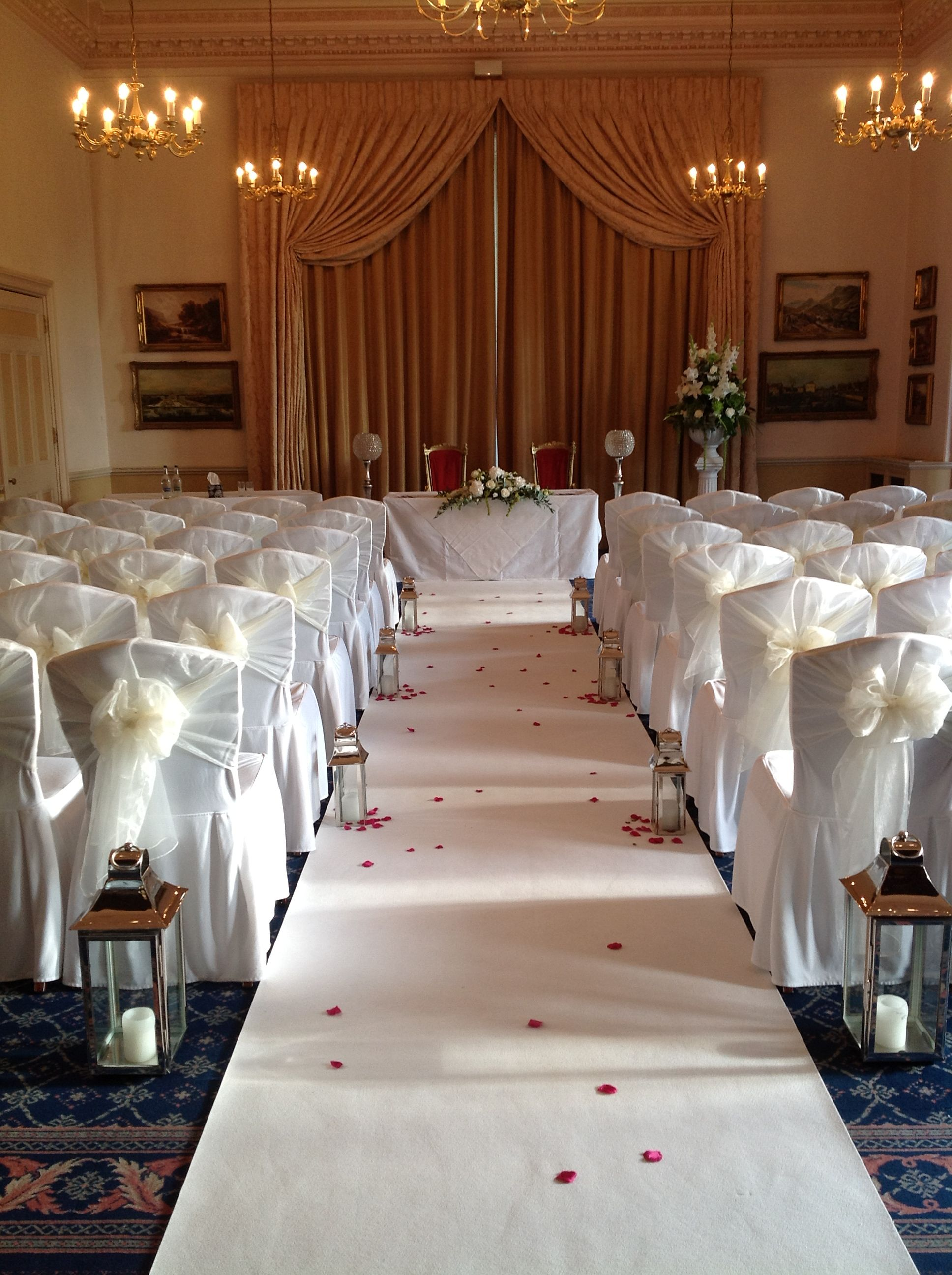 Prior Suite With White Aisle Carpet Chair Covers Lanterns From - Wedding chair covers essex