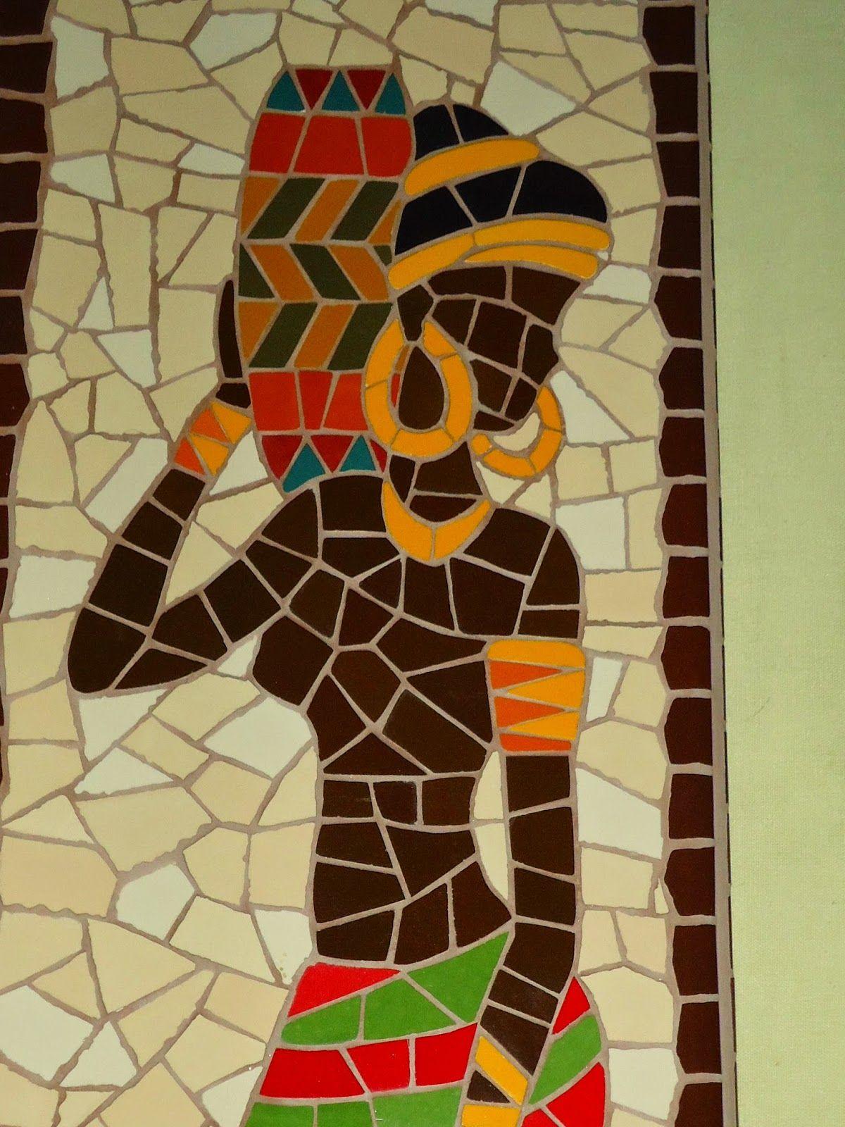 Quadro Africana. Mosaico feito com azulejos em base de MDF ...