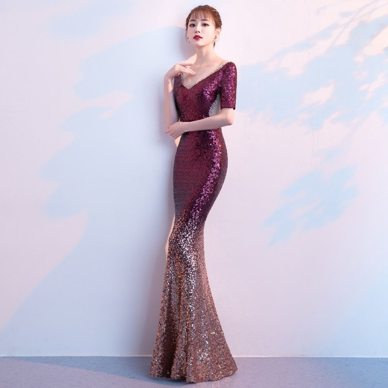 Mermaid Evening Dress Long 2019 Sequins with Short Sleeves Elegant Prom Party  Dresses Abiye Robe De 6a618664a3a7