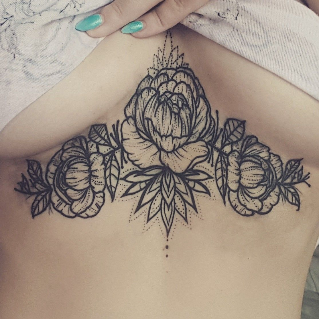 e80d5511980e9 Flower sternum tattoo design | Tattoos :)) | Sternum tattoo, Women ...