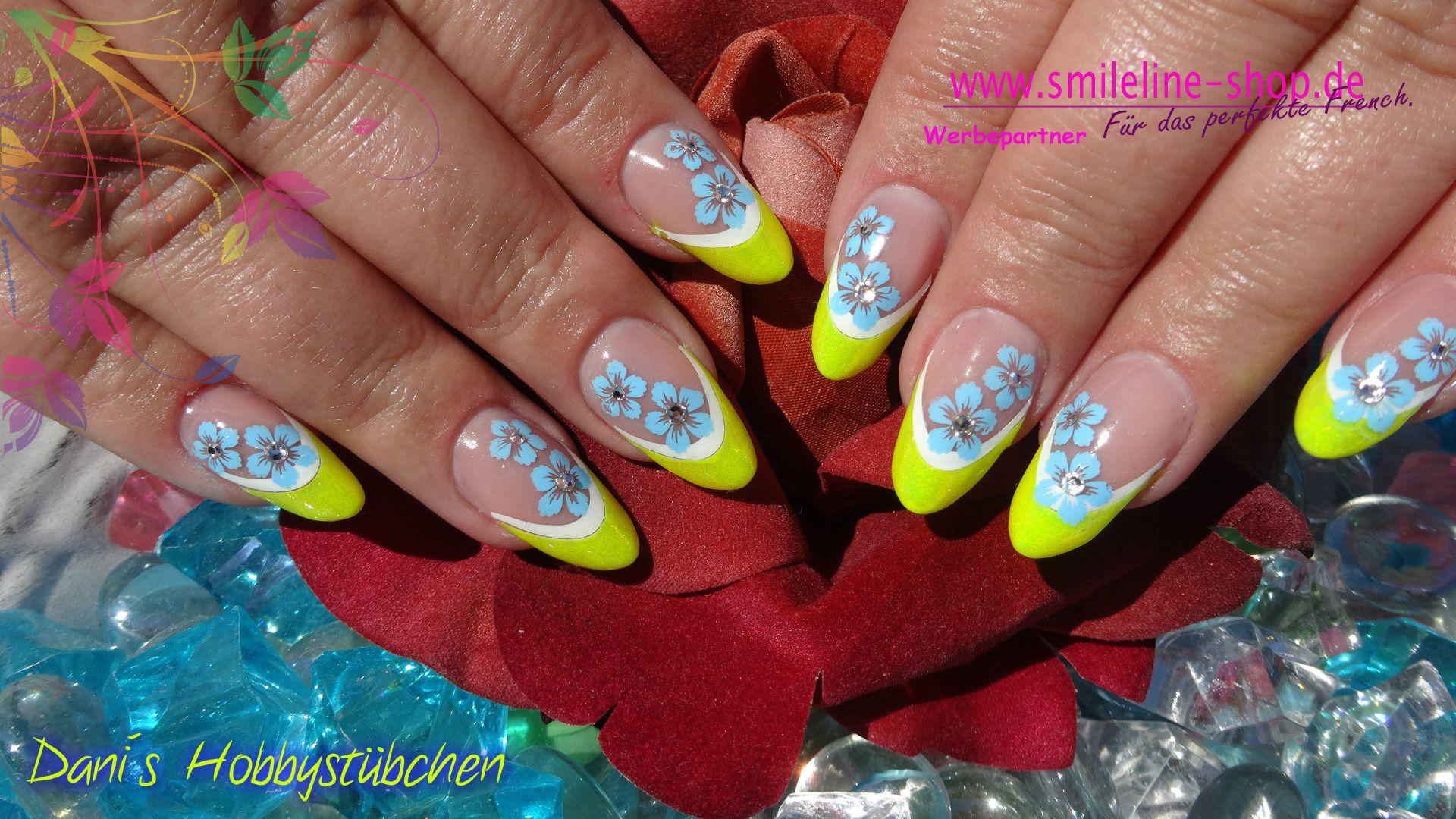 Gelnägel in Neon gelb mit Mermaid Pigment und Airbrush | Nails ...