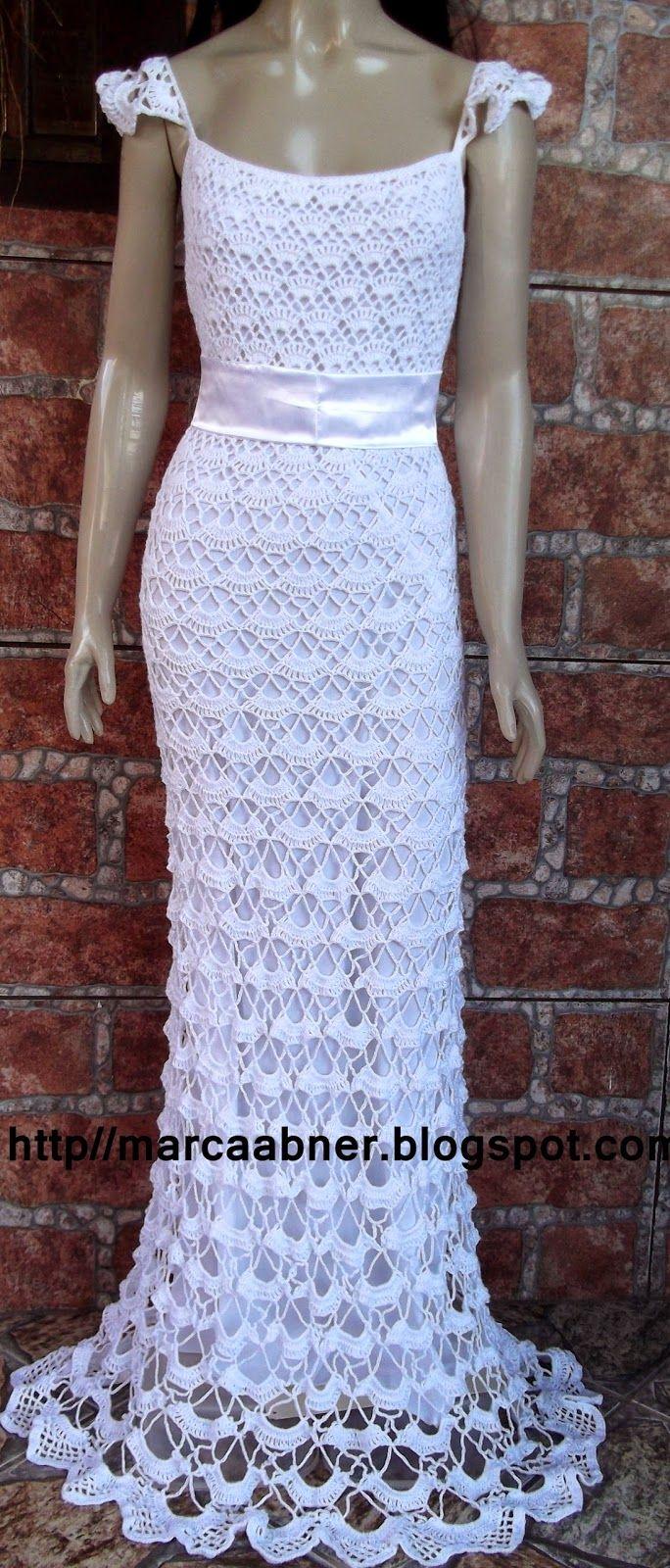 ccc76853b Marcinha crochê: VESTIDO DE NOIVA EM CROCHÊ   Crochet - Dresses ...