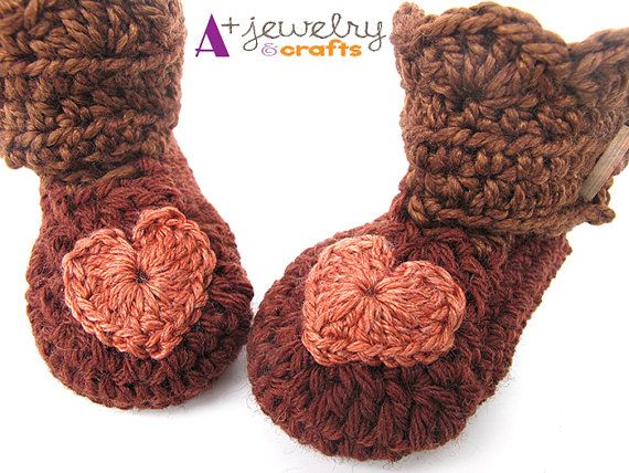 Brown baby booties hearts 36 mons gift for by APlusJewelryCrafts, $18.00