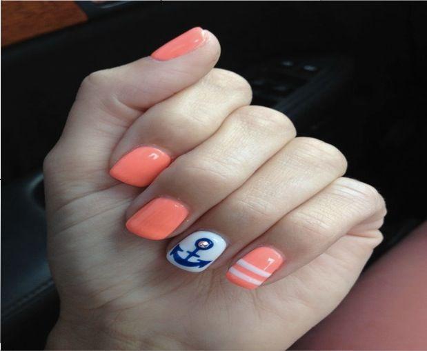 Anchor nail design blue nail w white anchor